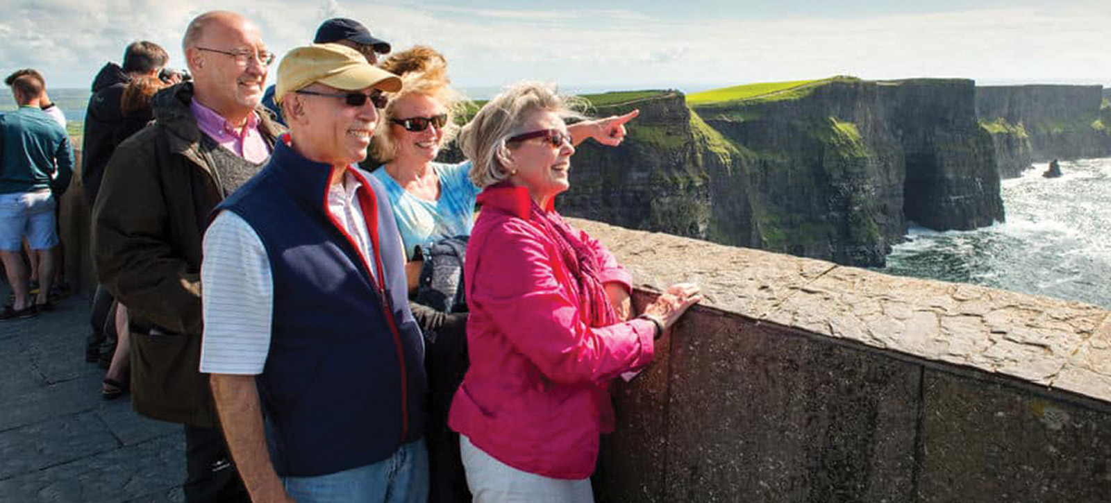 Tourists looking at sea view